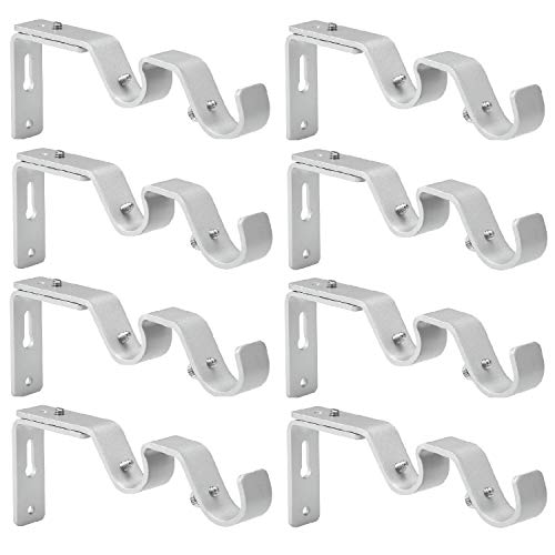 Anndason Heavy Duty Curtain Rod Brackets Adjustable Double Rod Holders 3/4 and 5/8 Inch Rod (Set of 8, Silver)