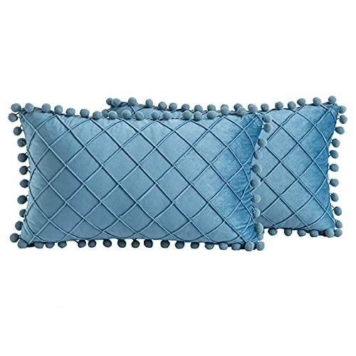 Mingfuxin Fundas de cojín de terciopelo, paquete de 2 fundas de almohada suaves con cierre invisible para cojines, sofá, cama, sala de estar (azul agua, 30 x 50 cm)
