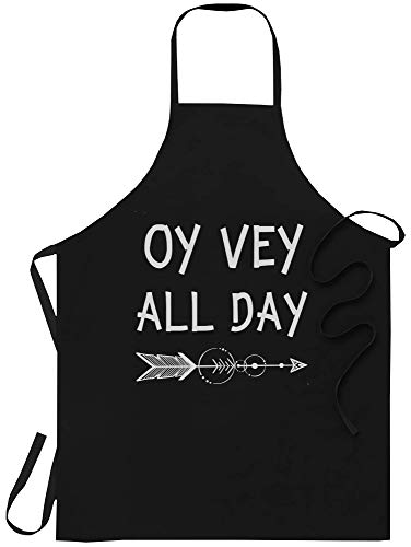 xPuffer Motivational Kitchen Apron Gymer - One Size fits All - Oy Vey All Day Quote Kosher Gym Hanukkah for Birthday Black Aprons for Men Women Home Decor