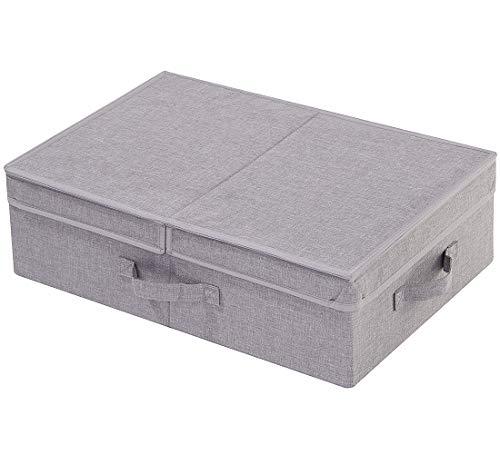 AMX Zusammenklappbarer Aufbewahrungskorb mit Deckel für Bücherregale, Schränke, Treppen, Schränke usw, Dunkelgrau