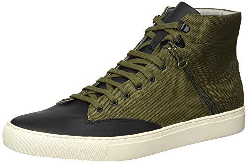 TCG Men's High Top Leather Sneaker Bomber Jacket Style with Zipper Pocket, Green, 46 Regular EU (13 US)