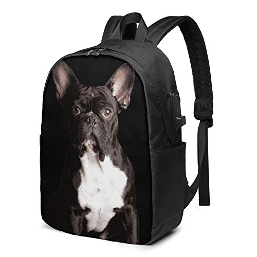 French Bulldog Travel Laptop Backpack College School Bag Casual Daypack With Usb Charging Port Dog Black Backpack