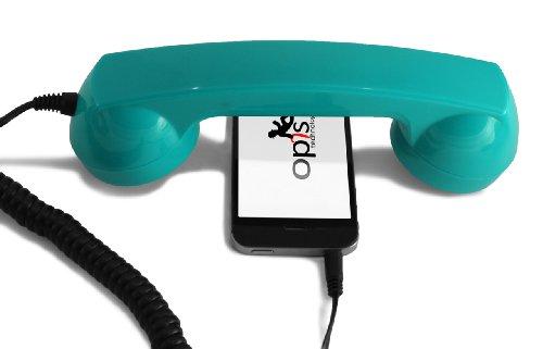 Special Edition: Opis 60s Micro - Retro Handyhörer für Smartphones und Handys in der Form eines klassischen Telefonhörers (Screaming Turquoise)