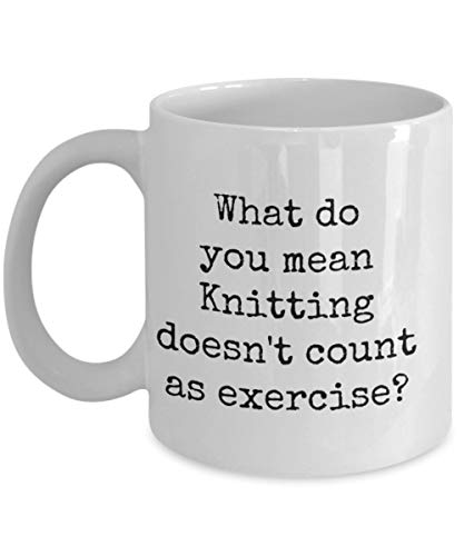 Vad betyder du stickning räknas inte som träning? 325 ml keramisk mugg, diskmaskins- och mikrovågsugnssäker bra presentidé
