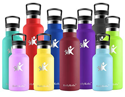 KollyKolla Botella de Agua Acero Inoxidable - 350/500/600/750ml/1L, Termo Sin BPA Ecológica Reutilizable, Botella Termica con Pajita y Filtro, Water Bottle para Niños & Adultos, Deporte, O