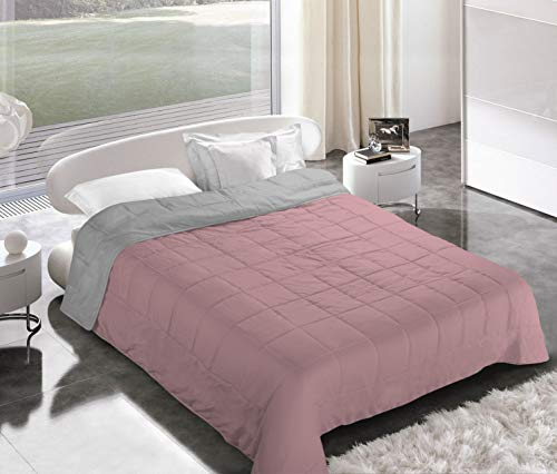 Italian Bed Linen Piumino Estivo, Microfibra, Rosa Antico/Grigio Chiaro, 2 Posti