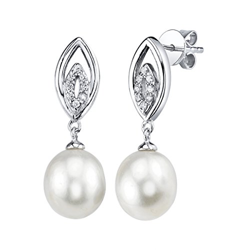 THE PEARL SOURCE 9-10mm Genuine White Freshwater Cultured Pearl & Cubic Zirconia Yael Earrings for Women
