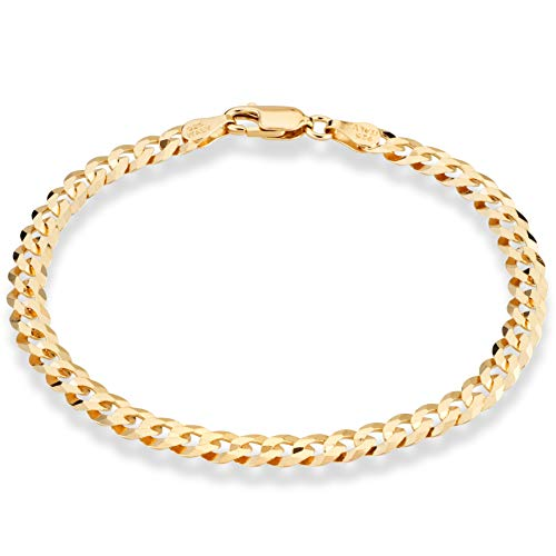 Miabella 18K Gold Over Sterling Silver Italian 5mm Solid Diamond-Cut Cuban Link Curb Chain Bracelet for Men Women, 6.5, 7, 8, 9 Inch 925 Made in Italy (7.00 Inch)