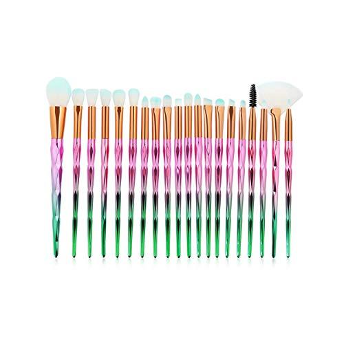SDHF Maquillage Pinceaux poudre Ombre à paupières Fondation Blend fard à joues lèvres cosmétiques Beauté douce Maquillage outil Pinceau, 20pcs / Kit (Couleur : Green Pink, Size : One Size)