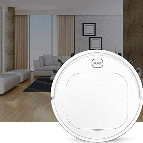 Portable Vacuum Cleaner,Robot Vacuum Cleaner with Strong Suction, 90Mins Run Time, USB Charging, Slim, Quiet, Self-Charging Vacuum with Boundary Strips, Pet Hair, Hard Floor,White
