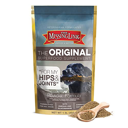 The Missing Link Original Hips & Joints Powder, All-Natural Veterinarian Formulated Superfood Dog Supplement, Balanced Omegas 3 & 6 + Glucosamine + Dietary Fiber for Mobility & Digestive Health, 1lb