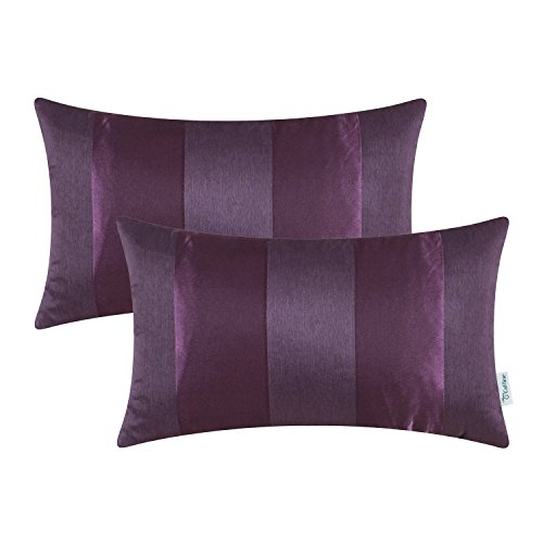 CaliTime Cushion Covers Pack of 2 Bolster Pillow Cases Shells for Couch Sofa Home Decoration Modern Shining & Dull Contrast Striped 30cm x 50cm Deep Purple