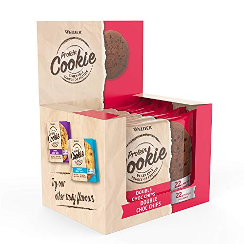WEIDER Vegan Protein Cookie 90g, Double Choco Chips, 12 gebackene Eiweiß-Kekse pro Box, Fitness-Snack