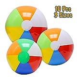 VCOSTORE Aufblasbare Wasserbälle, 10 Stück klassisches Strandball Spielzeug für die Summer Beach Pool Party
