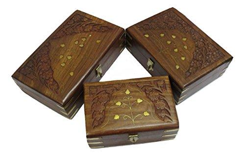 Juego de 3 joyeros de Madera para Regalos de la Marca Affories, Caja organizadora Multiusos, Accesorios coleccionables, artículos de Regalo W-40229