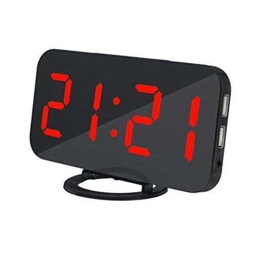 Baoblaze USB充電目覚まし時計デジタル目覚まし時計にスヌーファニオン付きベッドルーム3デュアルポートUSB付き調光明るさ - 赤, 説明したように