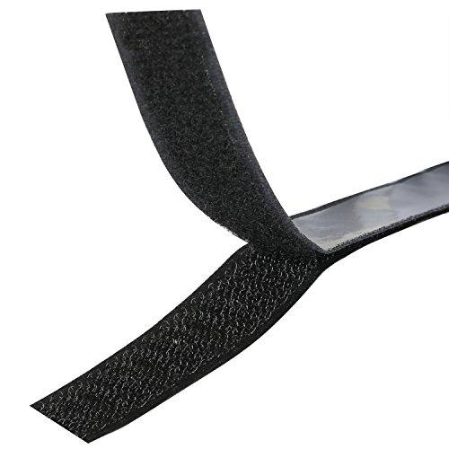 TRIXES Klettband selbstklebend in Schwarz mit 1 Meter Länge und 20 mm Breite - Zugluftstopper für türen - kabelbinder wiederverschließbar - Stationäre Lieferungen