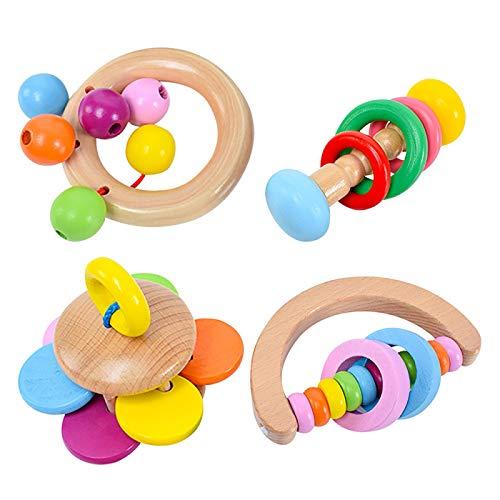 AMZYY Sonajeros de Madera 4pcs, Juego de Juguetes para Agarrar Sonajeros para Bebés, Juguetes Educativos de Rompecabezas de Instrumentos Musicales para niños y niñas de Más de Cuatro Meses