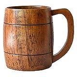 Huante 500ML Bevanda Gratuita Legno di Giuggiola Grande con Manico Birra Tazza di Legno Tazza di Latte Tazza Pratica
