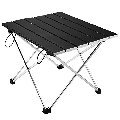 Vockvic Camping Folding Portable Table Lightweight Aluminum Foldable Small Compact Roll Up Table with Carry Bag Easy to Carry and Setup Fit for Picnic BBQ Beach Fishing Indoor and Outdoor