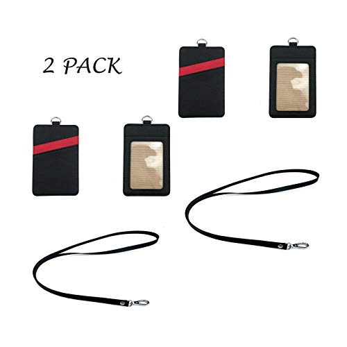 Lanyard with id Holder, id Badge Holder 2-Sided Vertical Style PU Leather ID Card Holder with 1 ID Window, 2 Card Slots Pocket 18 Inch PU Leather Neck Lanyard Strap 2 Pack Black Ispeedytech