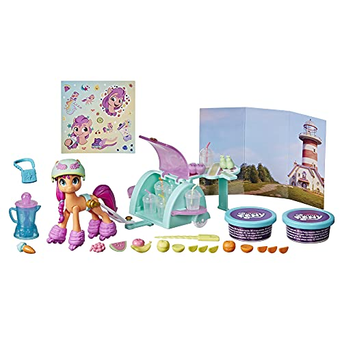 My Little Pony: A New Generation Smoothie Shop Sunny Starscout – Storyszenen-Spielzeug mit Spielmasse, 25 Accessoires, 7,5 cm großes Pony