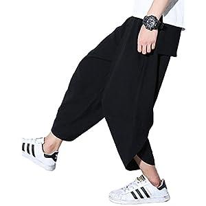 Ninkisann サルエルパンツ メンズ 無地 カジュアル ガウチョパンツ 7分丈 ハーフパンツ ゆったり キレイめ ユニセックス ズボンパンツ