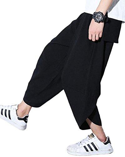 Ninkisann メンズパンツ 夏 カジュアル おしゃれ 七分丈 ブラック サルエルパンツ ズボン 通勤通学 男女兼用