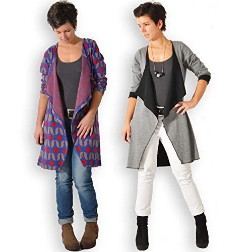 leni pepunkt Schnittmuster Cardigan Strickjacke Damen mit Nähanleitung in den Größen XS - XXXL zum Nähen mit Kurzanleitung und 5 Webetiketten