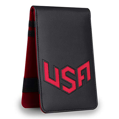 Big Teeth Golf Scorecard Holder Yardage Book Cover USA Pattern Golf Accessories Leather Fit for Most Back Pocket (Red)