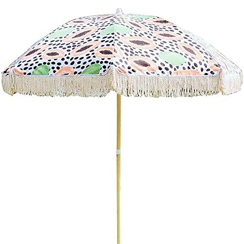WXHXJY Sombrilla De JardíN De 2 M, Parasol Inclinable para Patio De Ocio, Decorativa con Borlas, ImpresióN, Resistente Al Viento Y A La Lluvia, para BalcóN Exterior, Terraza, Playa,B