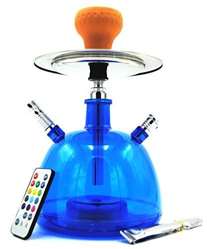 Cachimba Shisha LED Pipa de Agua 28 CM Pack Hookah Electronica de Tabaco Narguile (Azul)