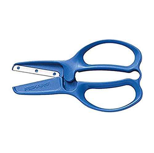 Fiskars Tijeras para Preescolar, A partir de 3 años, Para cortar papel, Longitud: 11 cm, Hoja de acero inoxidable/Mangos de plástico, Rojo o Azul (Entrega aleatoria), 1003855