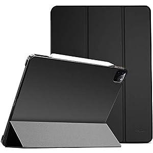 "ProCase iPad Pro 11"" 第2世代 2020 ケース [Apple Pencil 2充電対応] 超スリム スタンド フォリオ保護ケース 半透明フロスト バックカバー 対応端末:iPad Pro 11インチ 2世代 2020 / 1世代 2018 - ブラック"