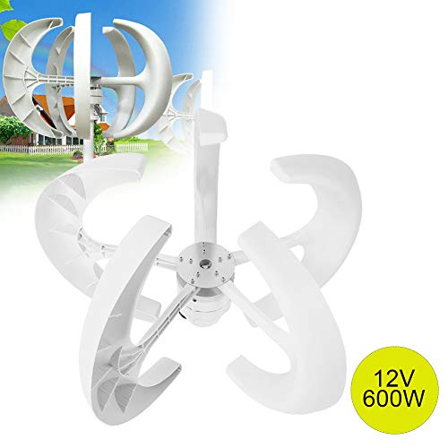 Riuty Windturbine, 600W 12V Windturbinengenerator Laterne Vertikaler Windgenerator 5 Blätter Windturbinensatz mit Steuergerät(Bianco)
