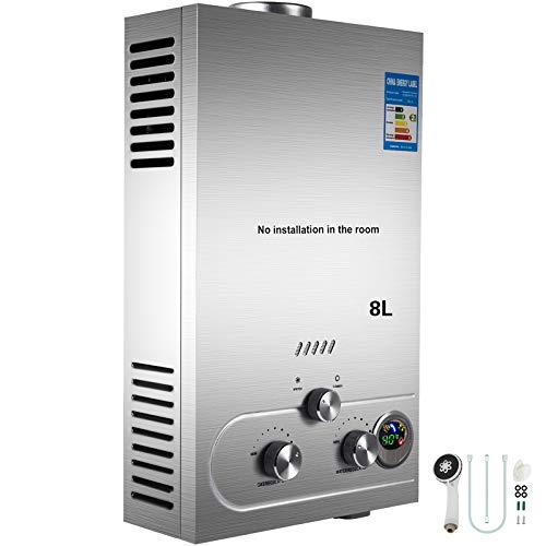 Cueffer LPG Calentador de Agua Calentador de Agua de Gas Licuado 36KW Calentador de Agua Automatico LCD Digital Calentador de Agua Instantaneo Propane Gas Hot Water Heater (8L)