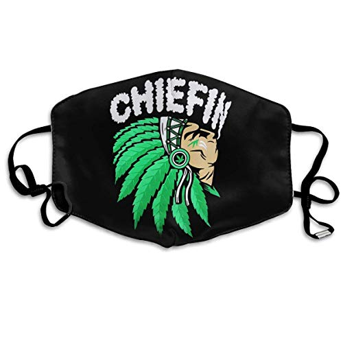 Mundschutz Mouth Co_ver Face Cover Dust-Proof Mouth Scarf Chiefn Smoke Weed Native American with Reusable...