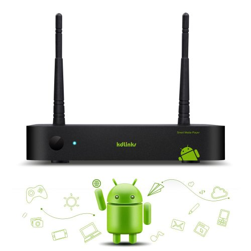 KDLINKS A100 Android Jelly Bean Dual Core XBMC Smart 1080P Streaming HD TV Media Player with Built In Wifi Support XBMC, Netflix, Youtube & All Other Apps