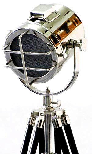 Nautical Chrome Searchlight W Tripod Stand Spot Light Studio Search Light Designer Table Lamp