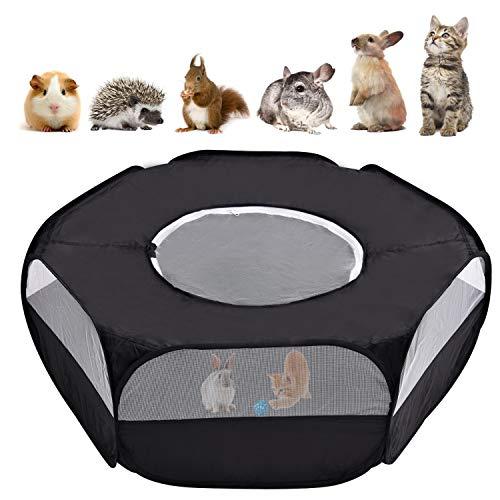 Majome Kleintier-Laufstall Haustier-Laufstall Käfig-Zelt mit Reißverschluss für drinnen und draußen tragbares Zaunzelt für Welpen Kätzchen Kaninchen Hamster