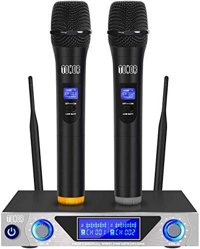 TONOR Funkmikrofon, Handmikrofon Set mit zwei dynamischen Mic und LED-Display für Familien-Karaoke-Party-Treffen, bestes Mikrofon für Live-Vocals