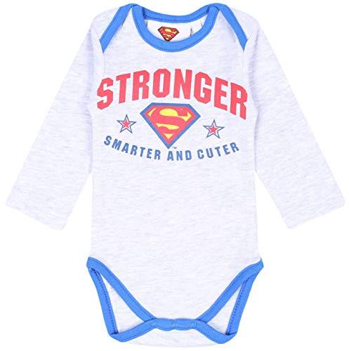 Body de bebé Gris Melange Superman 3 Meses