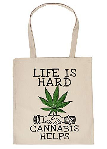 Cannabis Spruch/Motiv Tasche - Baumwolltasche Kiffer : Live is Hard Cannabis Helps - Tragetasche Grass/Weed/Hanf - Farbe: Creme