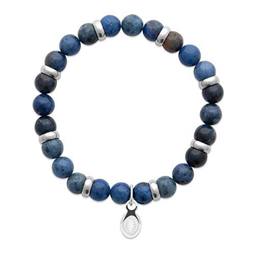 Tata Gisele - Braccialetto elastico con perle naturali avventurina blu, ciondolo in acciaio da maschere squalo, sacchetto regalo in velluto
