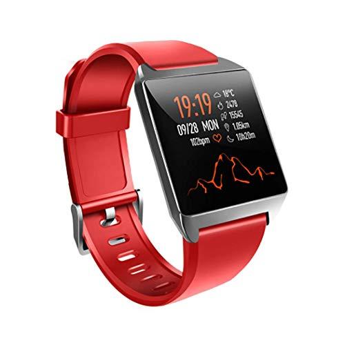 RHBKW Bluetooth Smart Armband IP68 Waterdichte Smart Horloge Hartslagmeter Sport Horloge met Stopwatch Alarm Klok voor Kinderen Vrouwen Mannen voor Android iOS, Rood