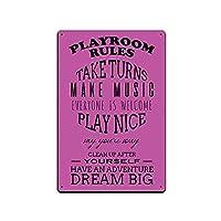 スズマーク子供部屋装飾-青少年子供寝室壁ドア金属マーク12x8ゲームルームルール梦大ピンク