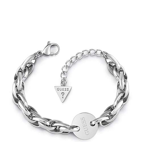Guess Damen-Armband OVAL Chain Coin Edelstahl One Size Silber 32011714