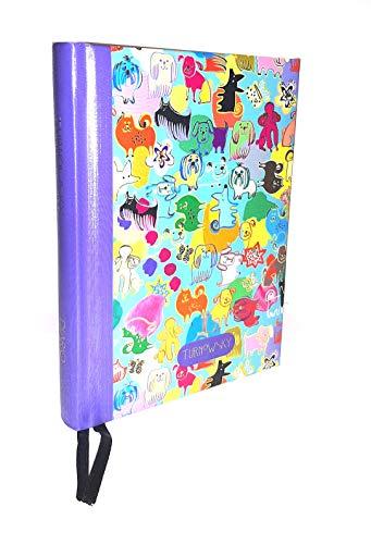 TURNOWSKY Tagebuch 12 Monate 2020/2021 Tageskalender mehrfarbig lila gelb hellblau 16 x 12 cm kariert + Lesezeichen + Kugelschreiber