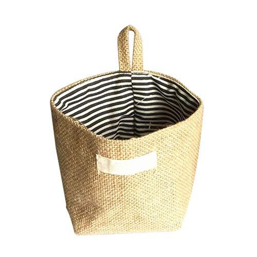 XJF Cesta de almacenamiento de lino, caja redonda con asa, bolsillo para organizar libros, ropa, juguetes