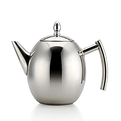 Haosens Stainless Steel Teapot Set with Infuser Filter (51 oz), 1.5 Litre Large Capacity Teapot for Loose Tea, Green Tea, Coffee